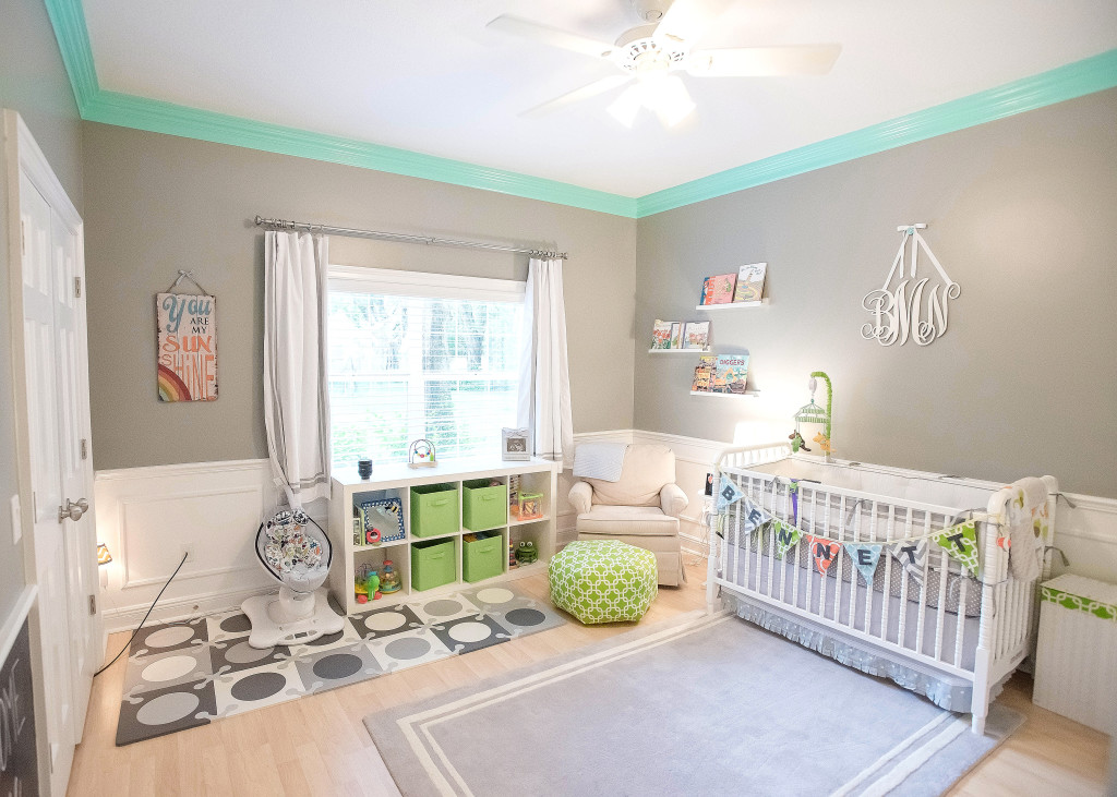 Gray, White, Teal and Lime Green Nursery