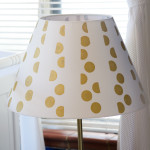 Lampshade Painted with Gold Acrylic Paint Using a Round Sponge