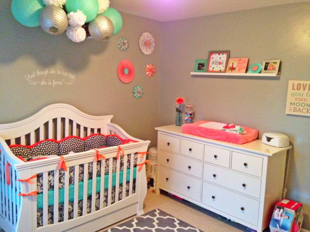Coral and Gray Nursery