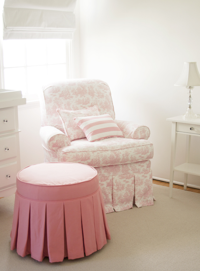 Pink Ottoman with Pleated Skirt