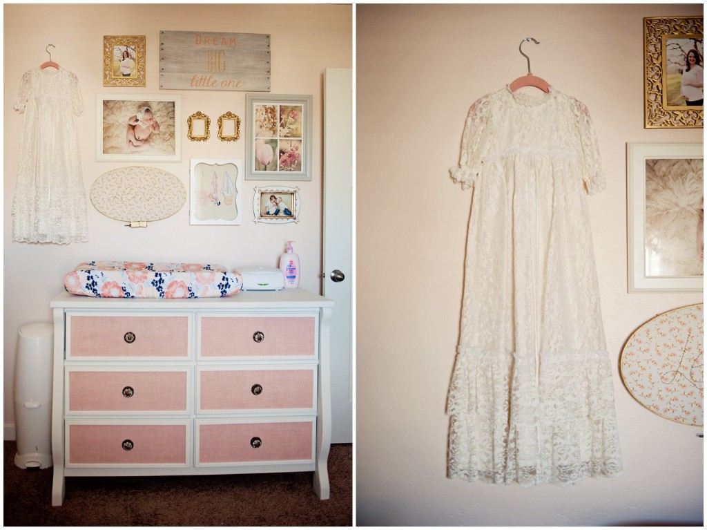 Upcycled Dresser Painted White with Burlap Trim added to Drawers