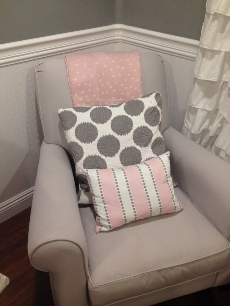 Gray Nursery Glider with Pink and Gray Accents