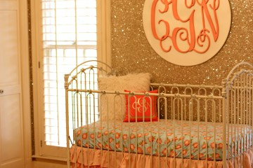 Glitter Wallpaper Accent Wall with Monogram
