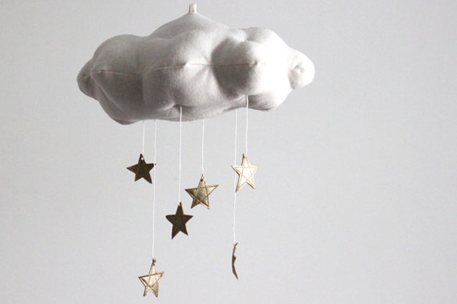 Cloud and Moon Mobile in Gold from PN Shop