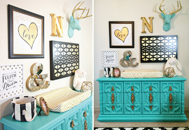 Black, Gold and Aqua Nursery Gallery Wall - Project Nursery