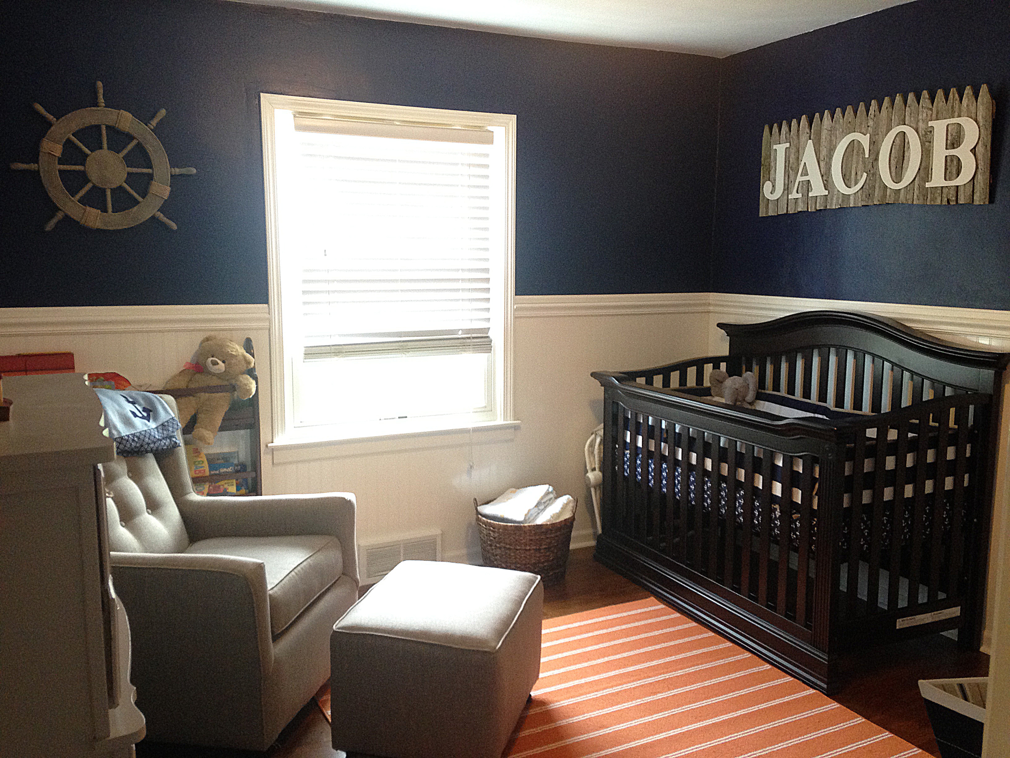 Nautical Boy Orange And Navy Nursery Project Nursery