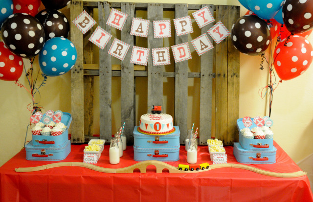 Red and Aqua Train First Birthday Party - Project Nursery