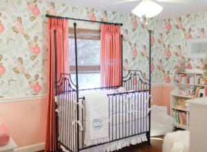 Feminine Nursery with Coral and Mint Wallpaper - Project Nursery