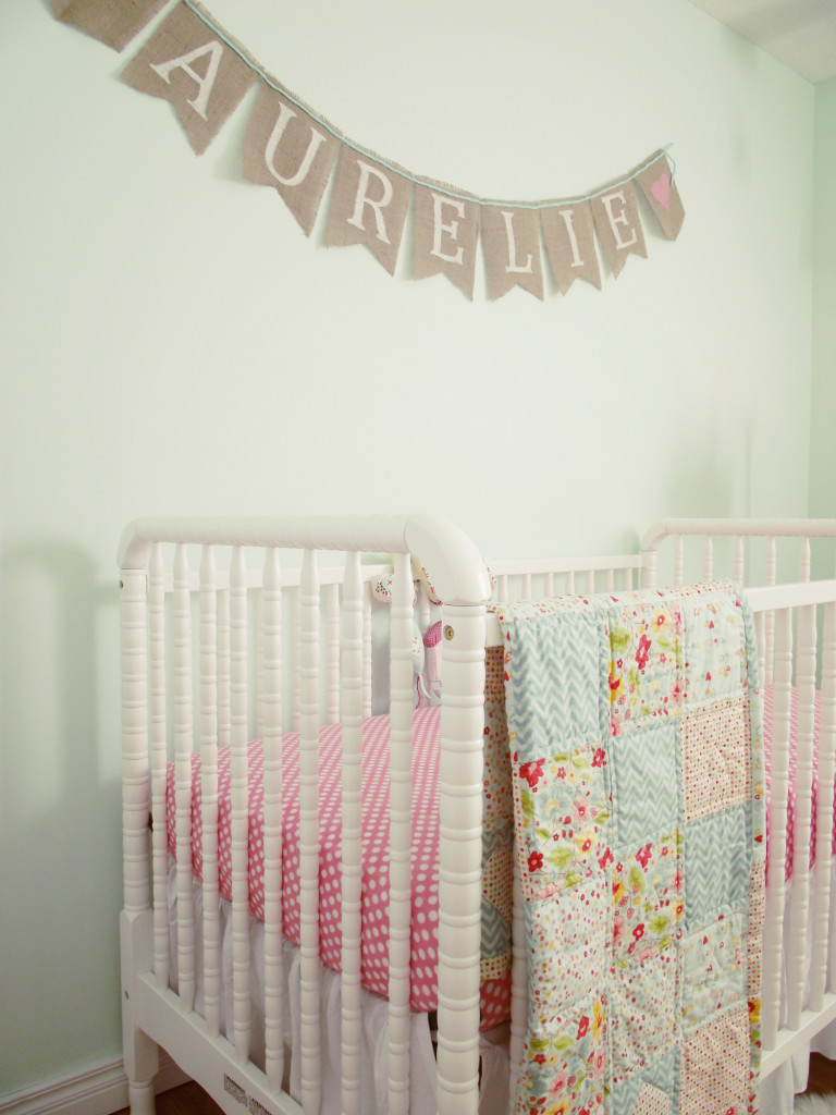Personalized Name Burlap Banner over Crib