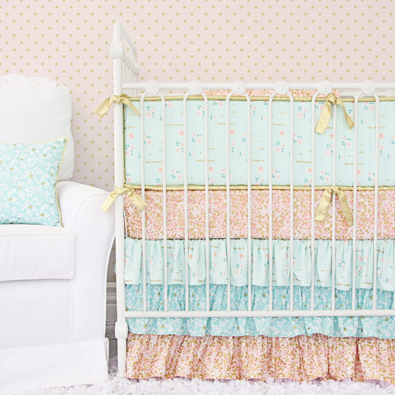 Marion S Coral And Gold Polka Dot Nursery: Giveaway: Crib Bedding From Caden Lane