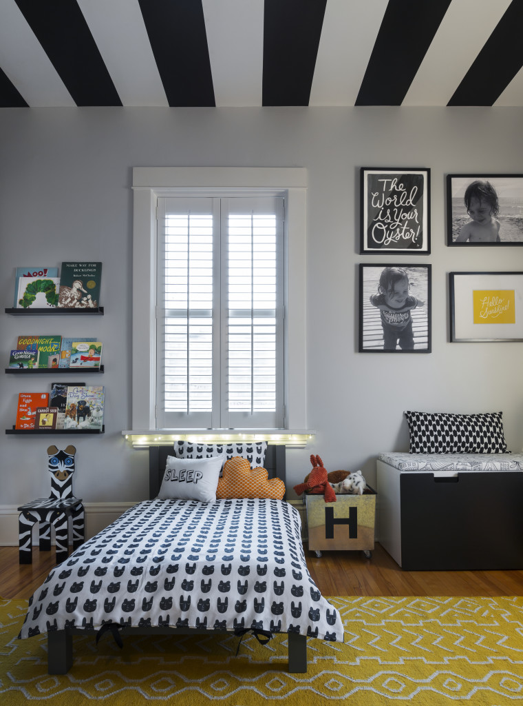 Graphic and Modern Toddler Boy Room with Striped Ceiling