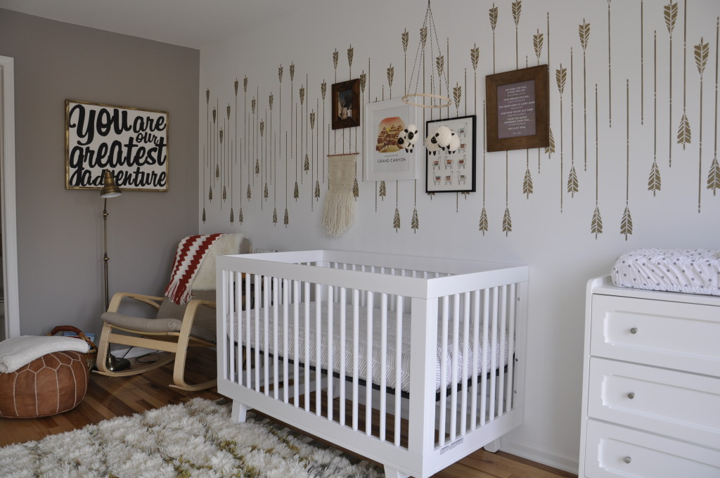 Eclectic Nursery with Stenciled Arrow Accent Wall - Project Nursery
