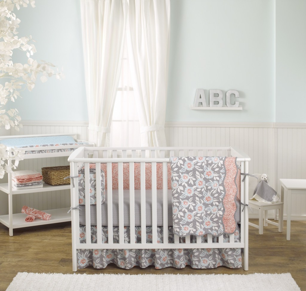 Balboa Baby Grey Dahlia Crib Bedding