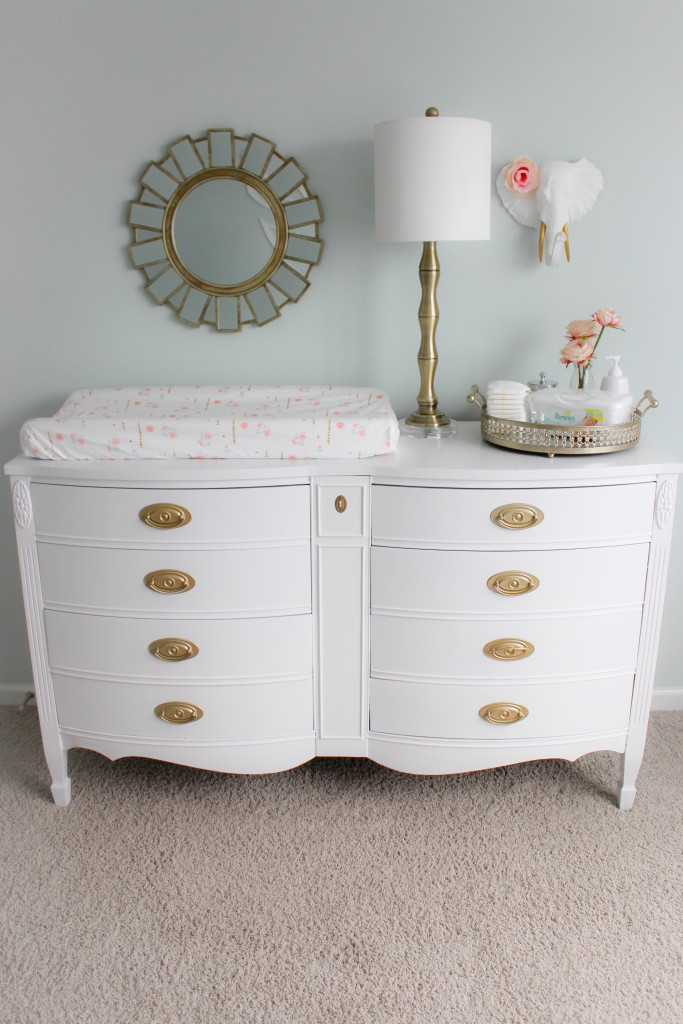 Refinished Dresser Painted White with Gold Hardware