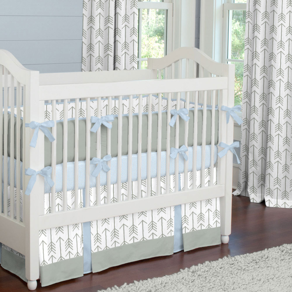 Gray and Lake Blue Arrow Crib Bedding from Carousel Designs
