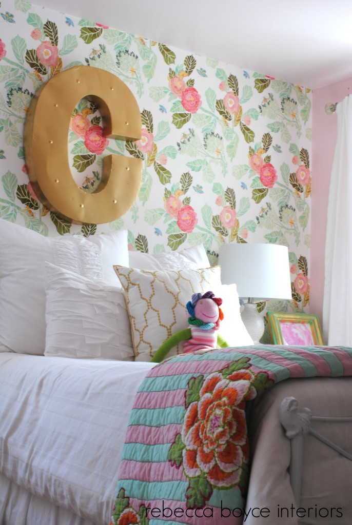 Big Girl Room with Watercolor Peony Wallpaper - Project Nursery