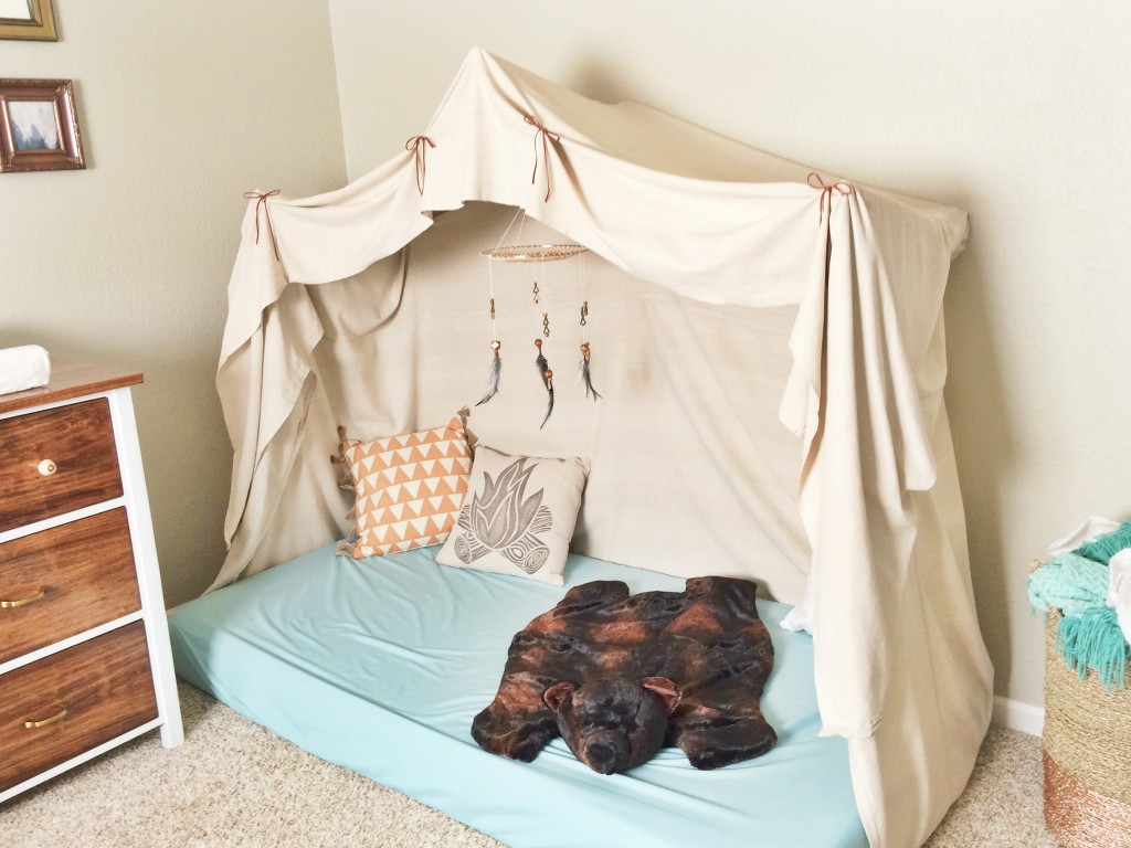 Montessori-Style Floor Bed in this Bohemian Camp Themed Nursery