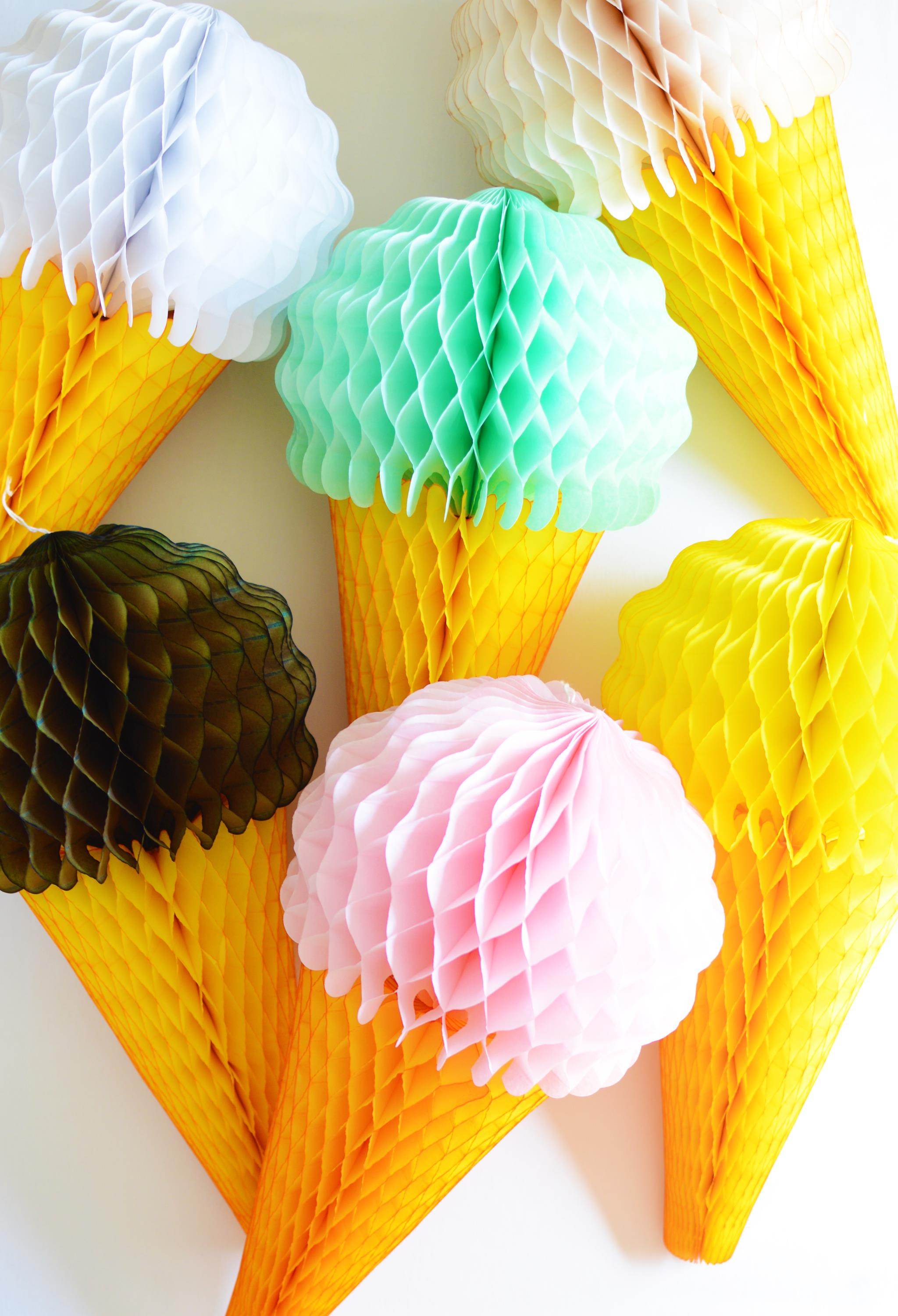 Honeycomb Tissue Paper Ice Cream Cones