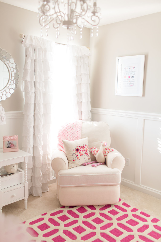 Soft Beige and White Nursery with Pops of Pink - Project Nursery