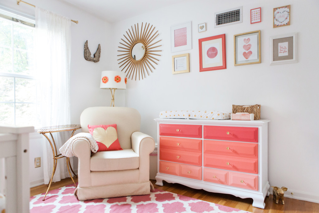 Coral and Gold Polka Dot Nursery - Project Nursery