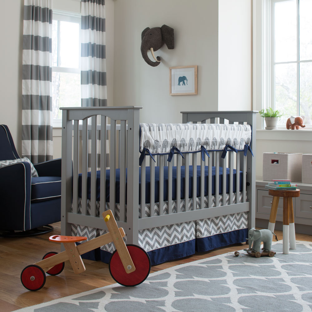 Navy and Gray Elephants Crib Bedding from Carousel Designs