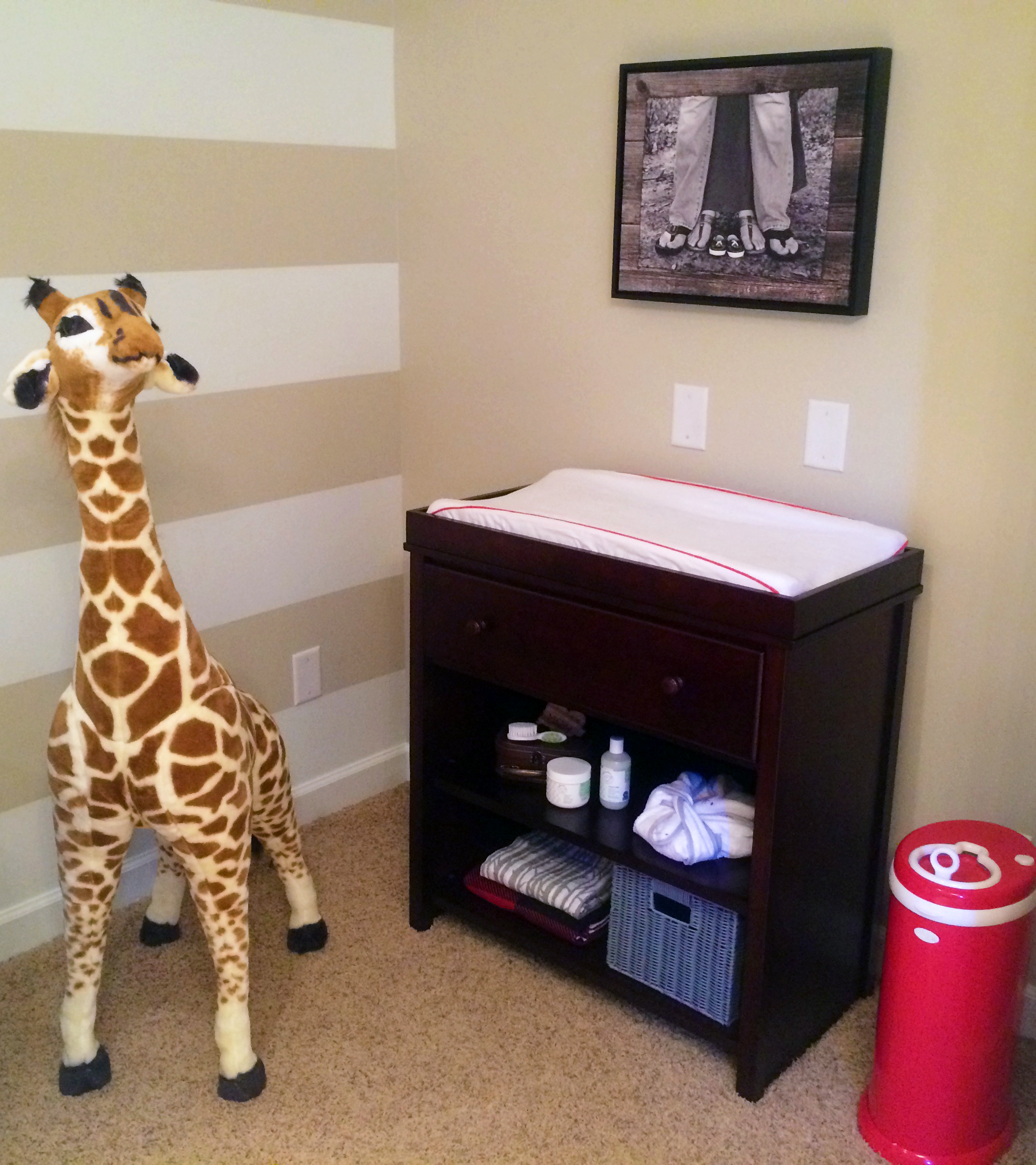 Fisher Price Changer, Large Stuffed Giraffe and Ubbi Diaper Pail