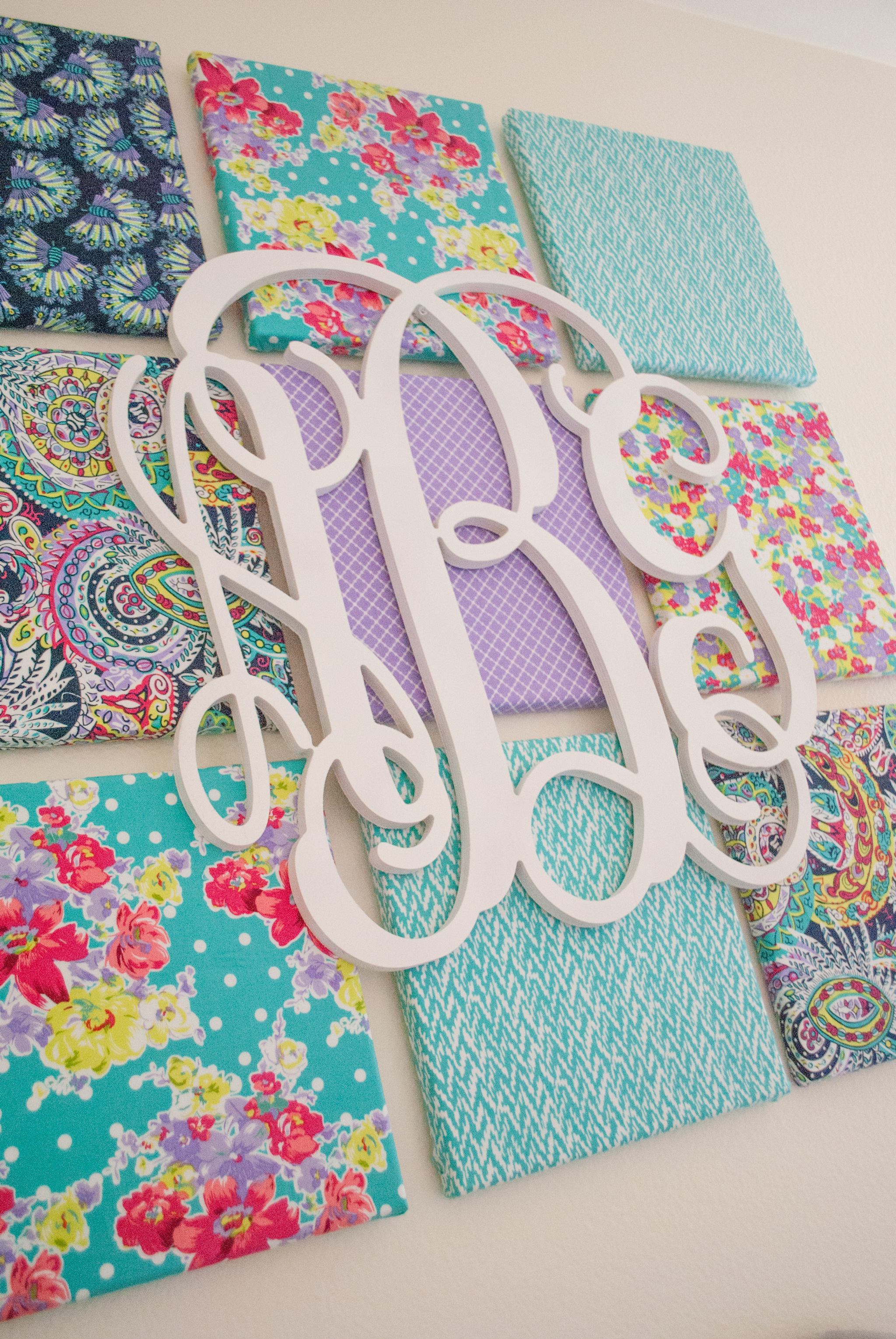 Fabric Canvas and Monogram Wall Art