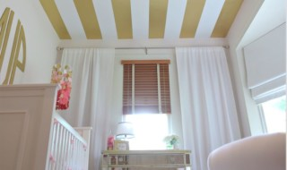 White and Pink Nursery with Gold Striped Ceiling - Project Nursery