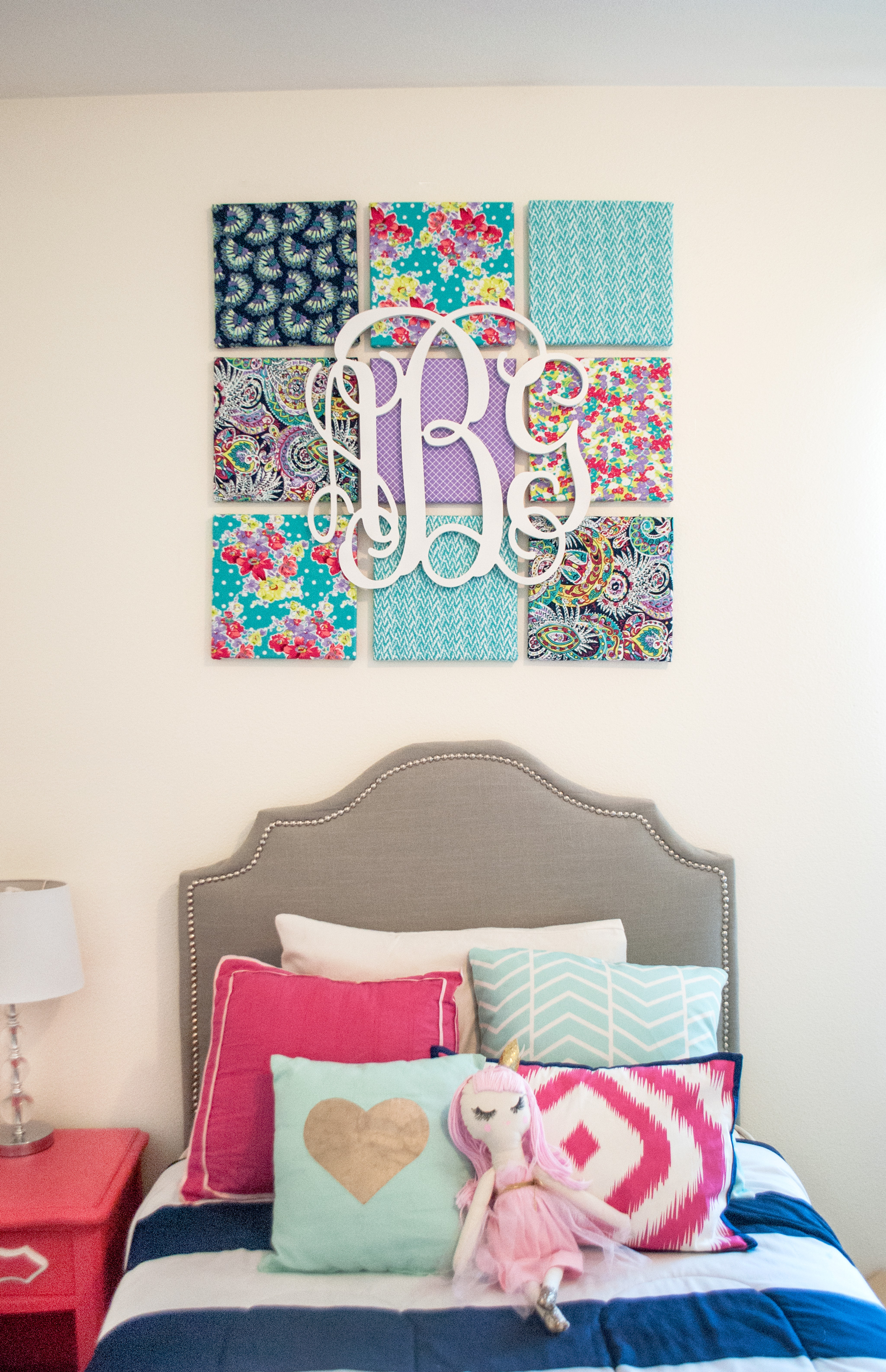 Fabric Covered Canvas with Monogram