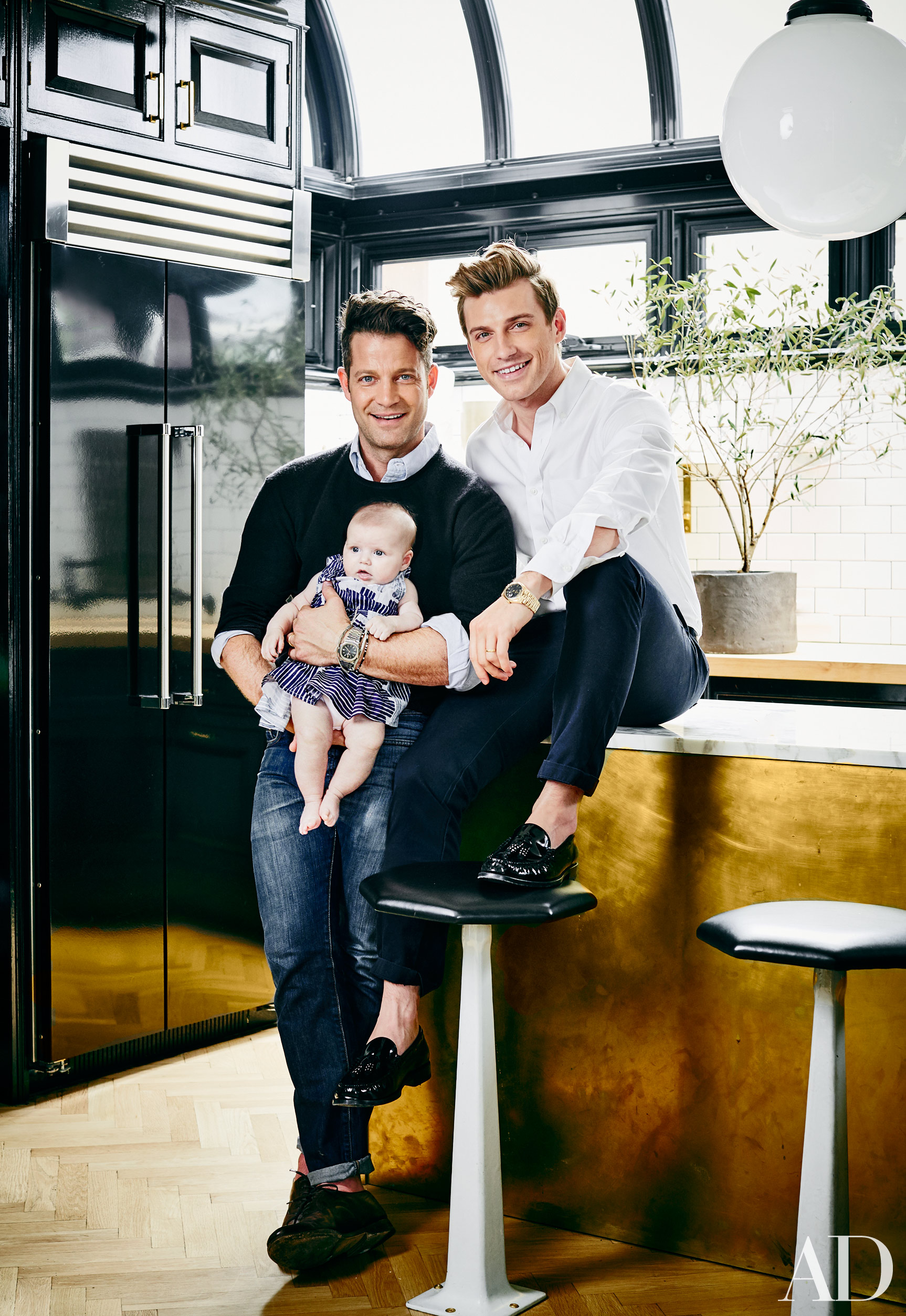 Nate Berkus Family Portrait with Baby Daughter Poppy