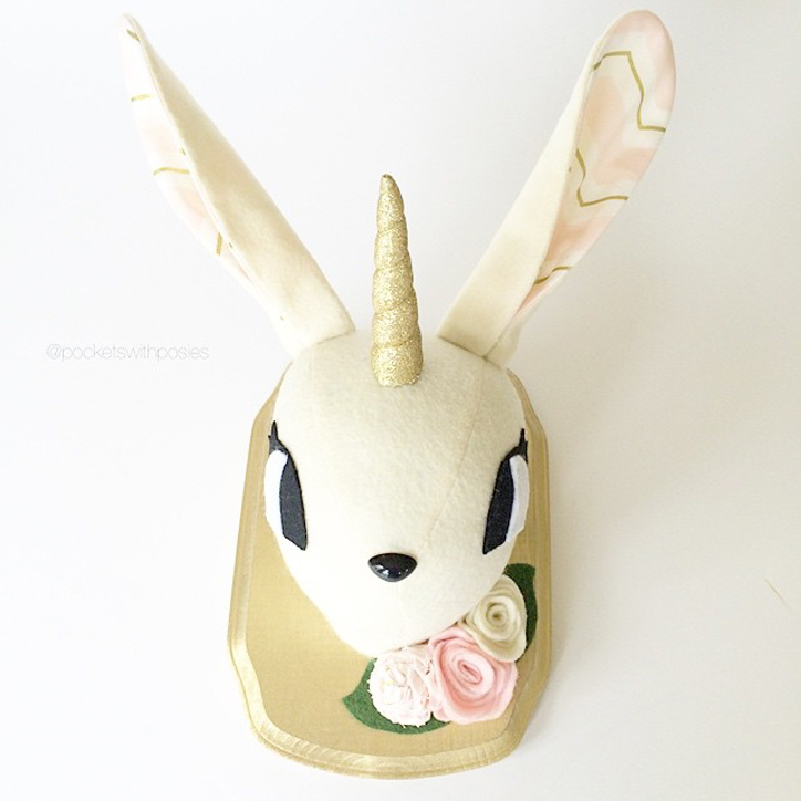 Bunny Unicorn Faux Taxidermy from Pockets with Posies on Etsy