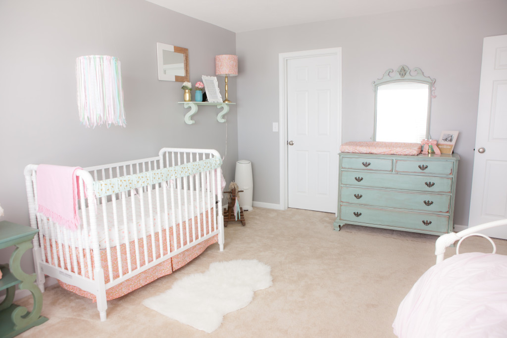 pink mint and gray baby nursery project nursery