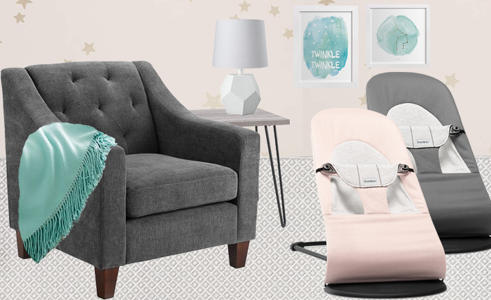 Gray, Pink and Mint Nursery Design Board - Project Nursery