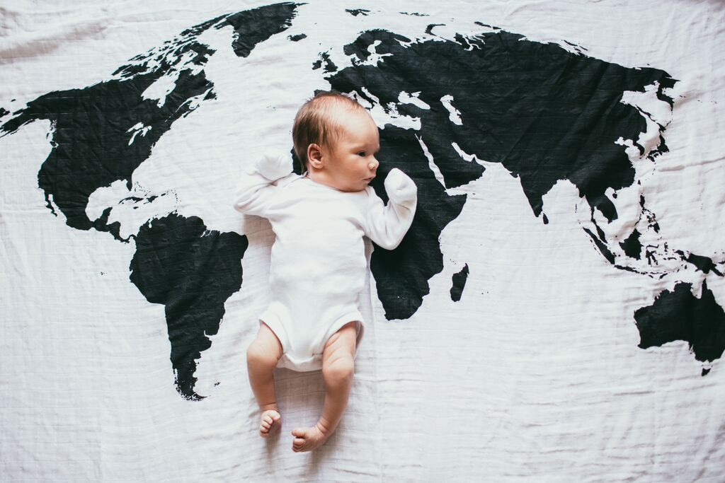 World Map Organic Muslin Swaddle