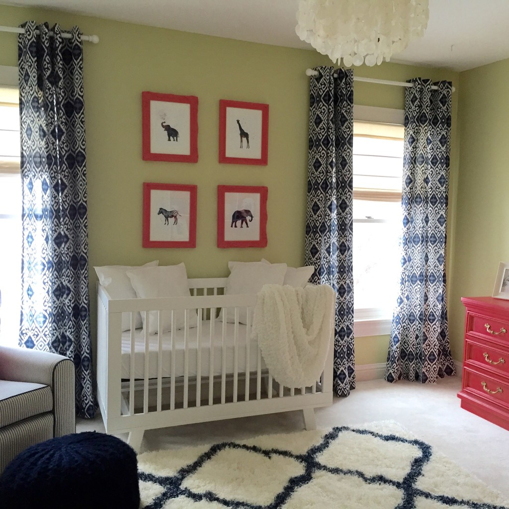 Coral, Green and Navy Safari Nursery - Project Nursery
