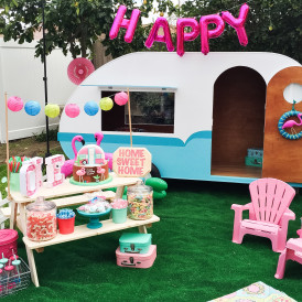 Colorful Retro Camper Trailer Birthday Party