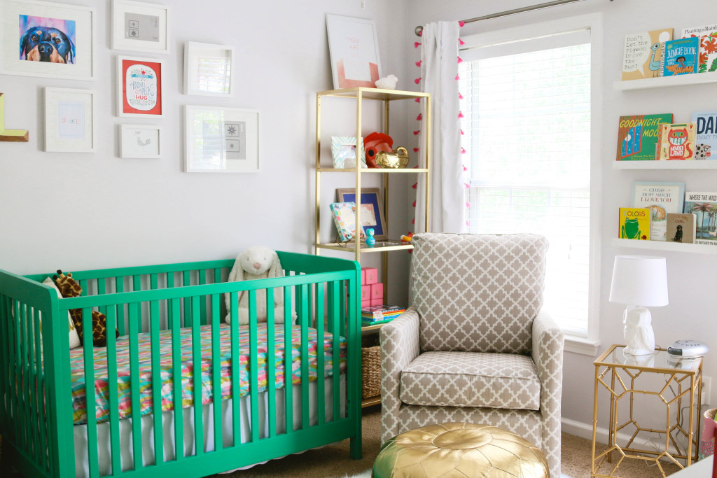Eclectic Nursery with Kelly Green Crib - Project Nursery