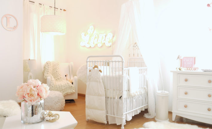 Feminine Nursery with Love Marquee