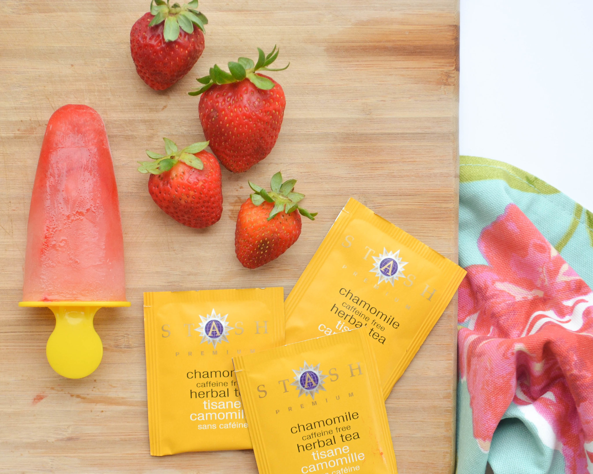 Strawberry and Chamomile Natural Teething Popsicles