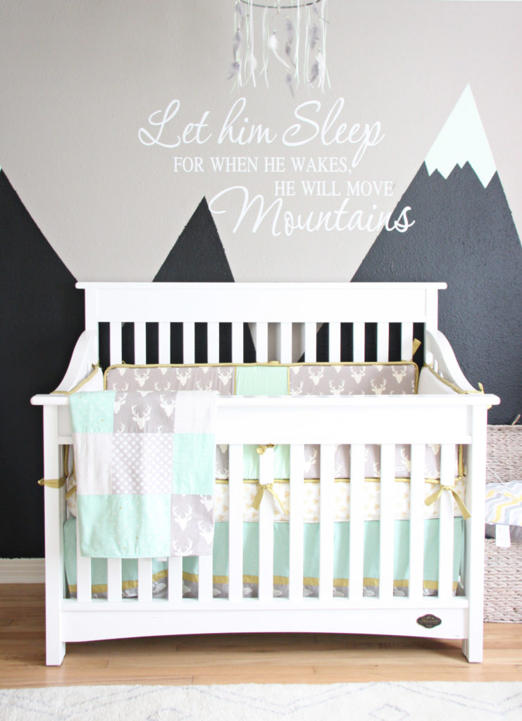 Reyn 39 s rocky mountain retreat nursery project nursery for Mountain crib bedding