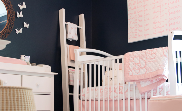 Feminine Navy and Pink Nursery