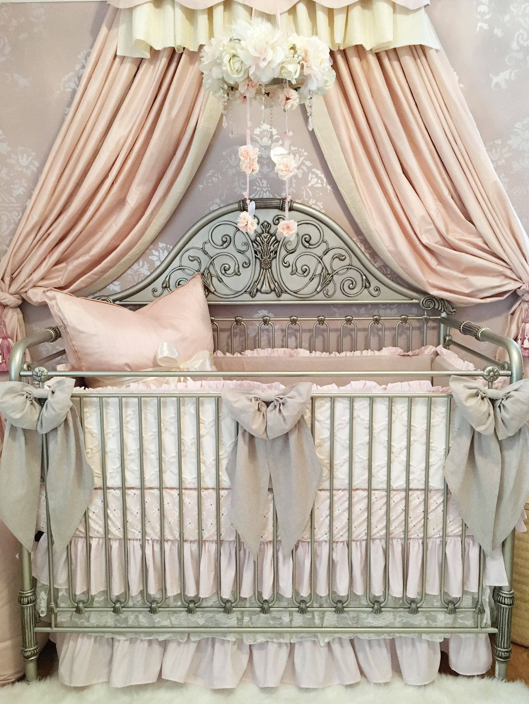 Feminine Crib with Linen and Lace Crib Bedding