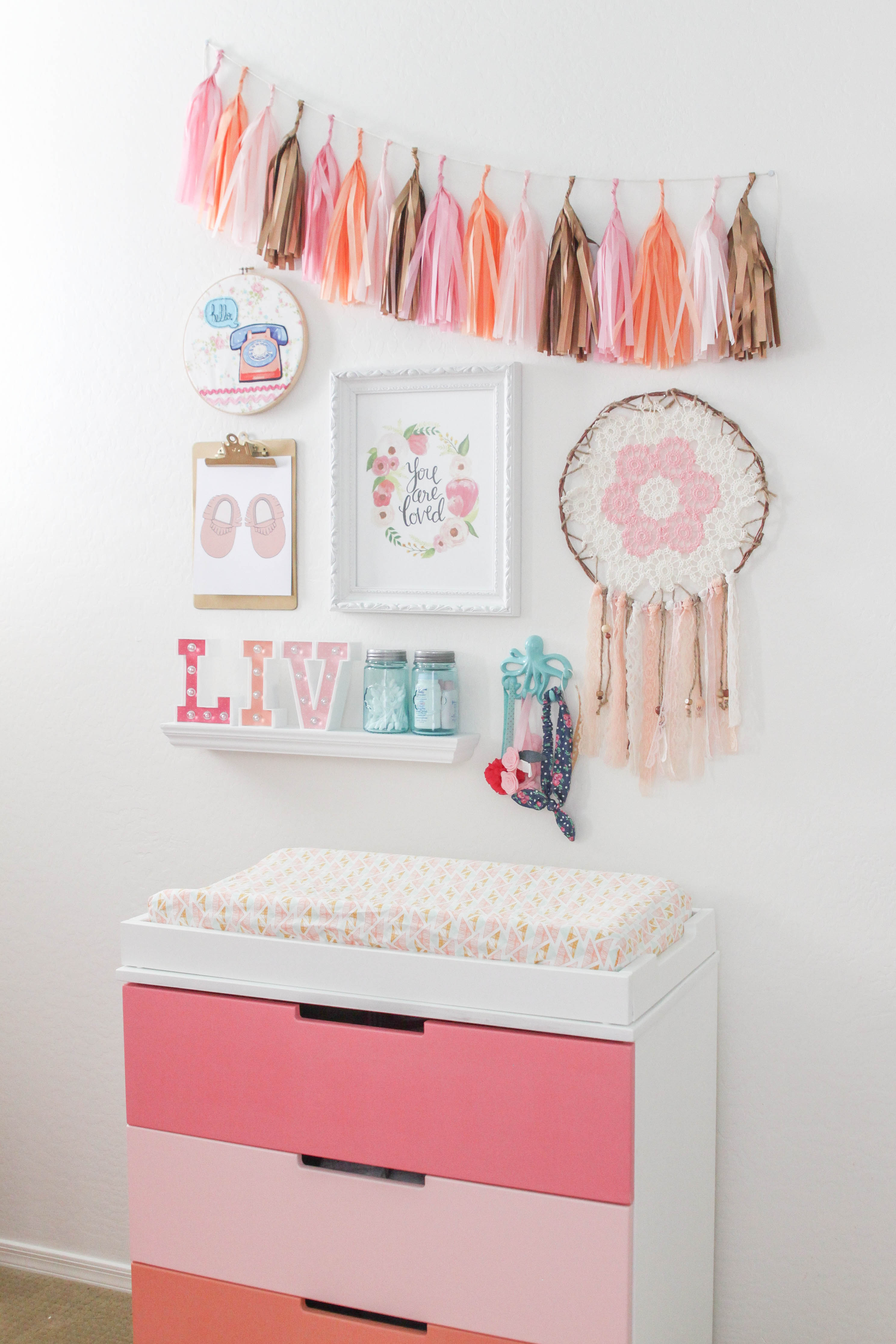 Design reveal boho chic nursery project nursery for Chic baby nursery ideas