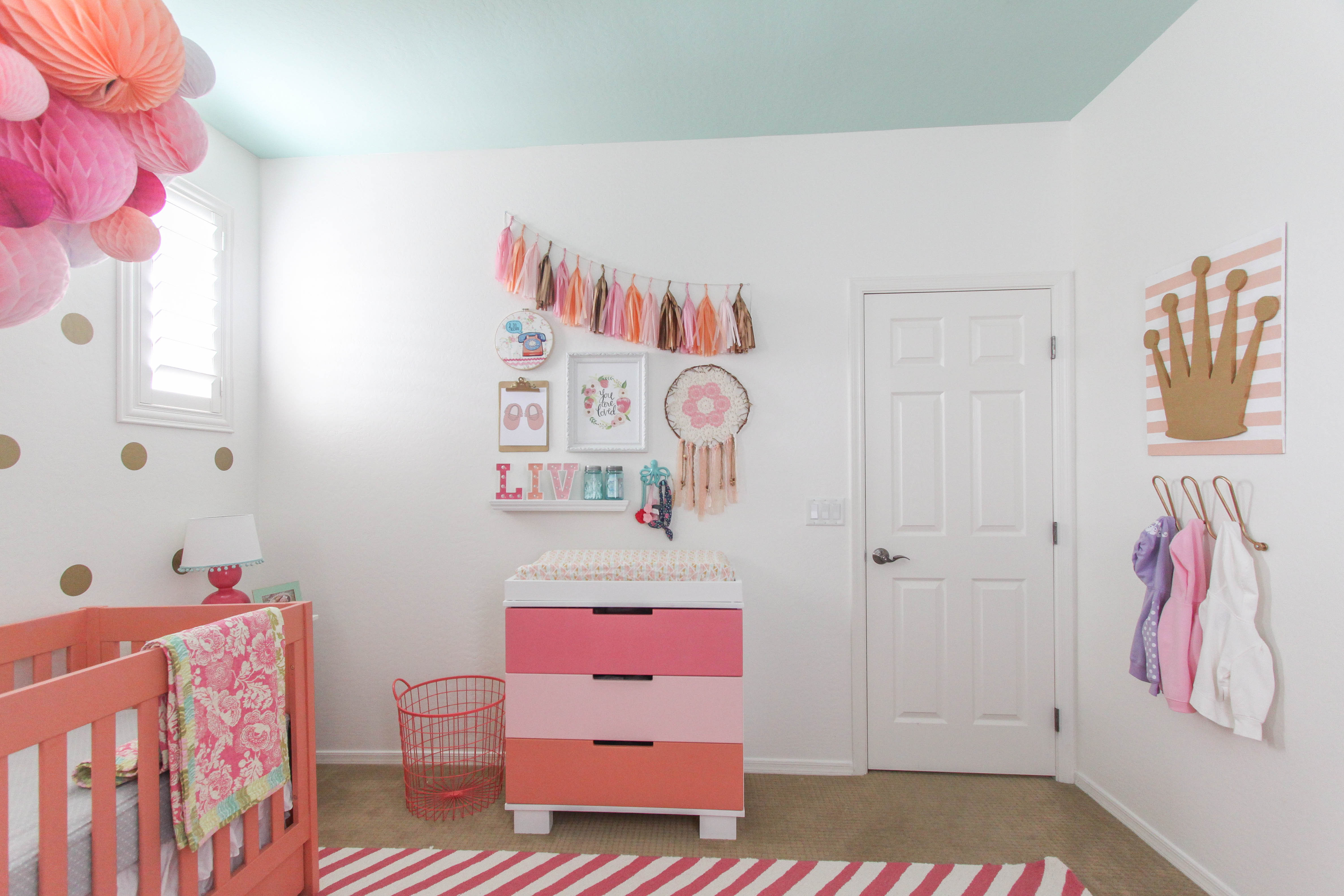 Coral and Pink Girls Nursery Decor