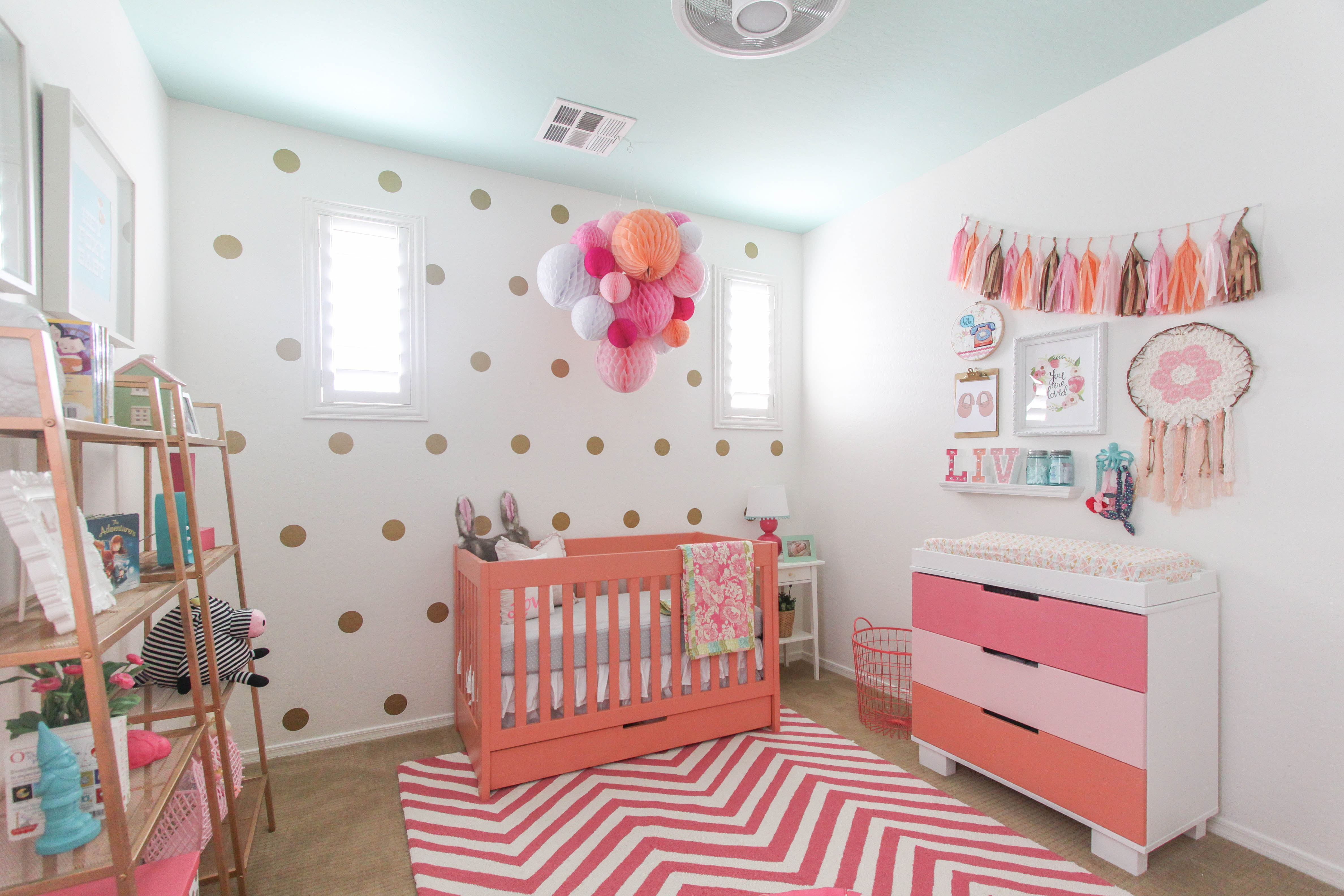Coral and Gold Girls Nursery