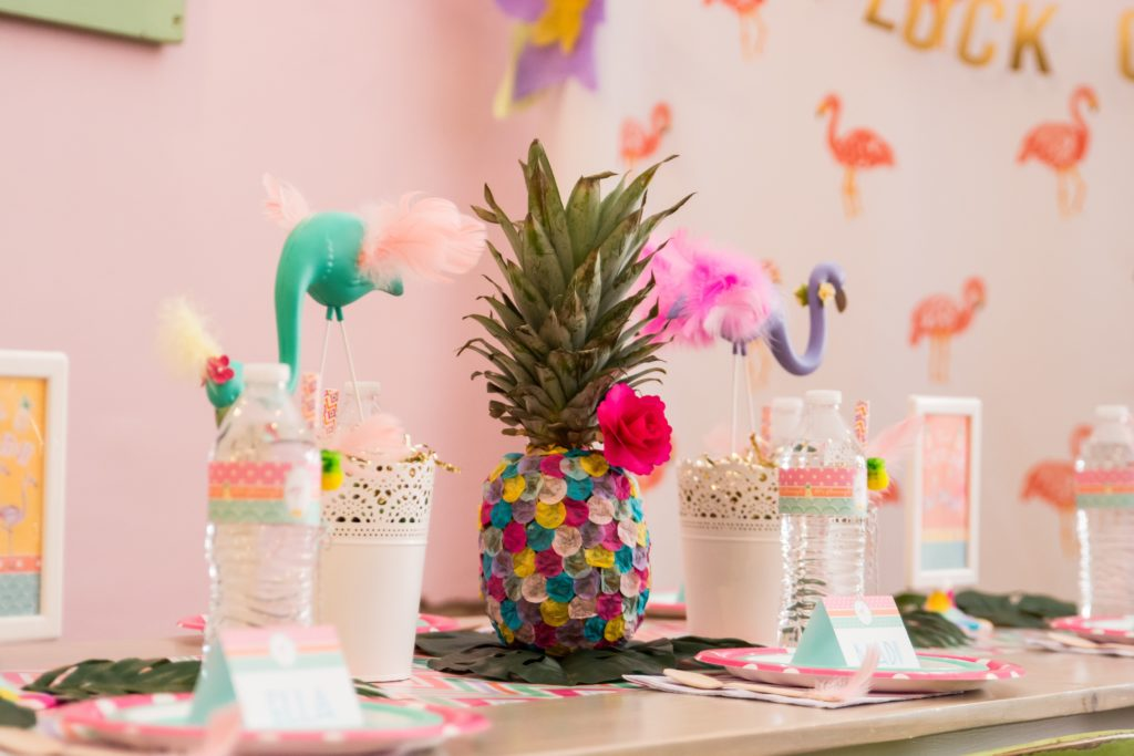 Pineapple and Flamingo Centerpiece
