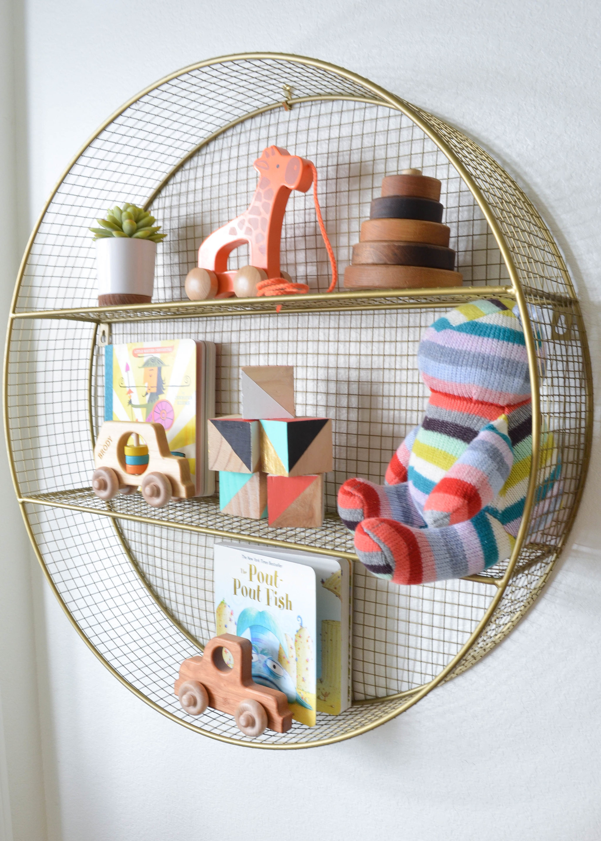 Toy Storage and Circular Display Shelf