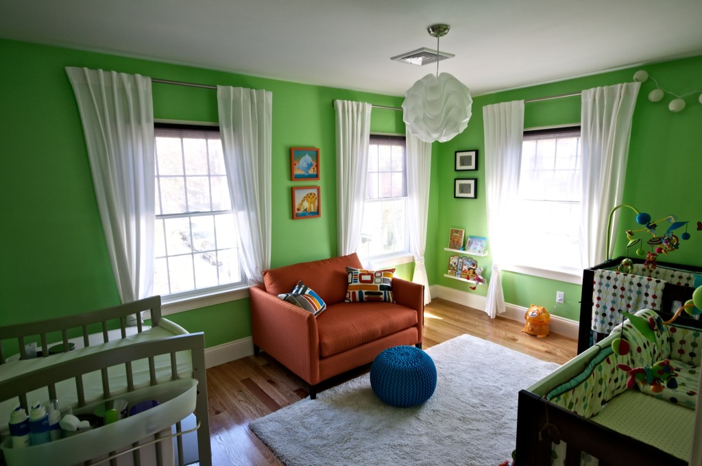 Bright Green Twin Boys Nursery
