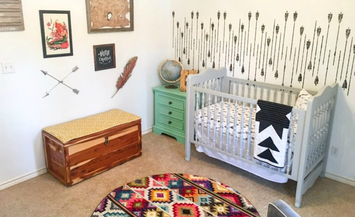 Modern Adventure Themed Nursery Inspired by Neverland with Arrow Accent Wall - Project Nursery