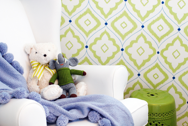 Green and Blue Nursery Design with Patterned Wallpaper